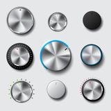 Volume knob set. Realistic metallic volume knob and button set for level change, with different style and led Stock Image