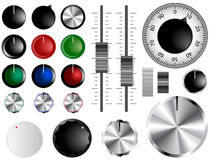 Volume knobs. Plastic and chrome knobs, dials and sliders Stock Photos