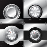 Volume knobs with black and metallic elements Royalty Free Stock Photography