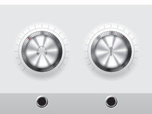 Volume knobs for headphones and microphone with wite plate Stock Photo