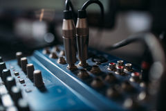 Volume level control panel, closeup. Professional audio engineering royalty free stock images