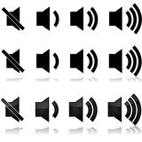 Volume levels. Icon set showing different volume levels for sound systems, computers, TVs Stock Photos