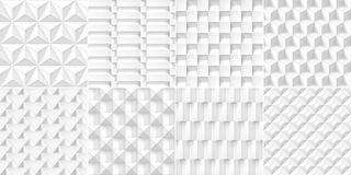 8 Volume realistic cubes textures set, white geometric patterns, vector design light backgrounds for you projects vector illustration