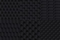 Volume realistic vector cubes textures set, black geometric pattern, design dark backgrounds for you projects royalty free illustration