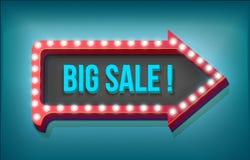 Volume retro arrow with lights, Big Sale Word Royalty Free Stock Image