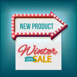 Volume retro arrow with Winter sale. Retro arrow lights frame with Winter sale. Realistic scalable with  3d volumetric icon on light bulb. Empty space for text Royalty Free Stock Photo