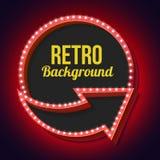 Volume retro circle with an arrow and light bulbs Stock Image