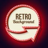 Volume retro circle with an arrow and light bulbs Stock Photo