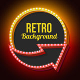 Volume retro circle with an arrow and light bulbs Royalty Free Stock Photo