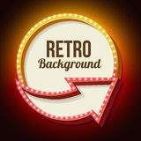Volume retro sign with lights. Retro sign. 3d arrow with the light at the edges. Round frame with lamps and blank space for vayeshev text advertising messages Royalty Free Stock Photography
