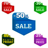 Volume sale badges and labels. Black friday, special and super price sale badges and labels design Royalty Free Stock Image
