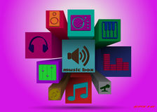 Volume set of music icons. On the extended high-squares of different lengths Royalty Free Stock Photos