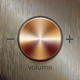 Volume sound control with bronze brushed texture. And level scale with plus and minus isolated on bronze texture background Stock Photography
