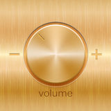 Volume sound control with golden brushed texture. And level scale with plus and minus isolated on golden texture background Royalty Free Stock Image