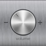 Volume sound control with metal aluminum or chrome brushed texture and level scale with plus and minus. Volume button, sound control, music knob with metal Stock Photography