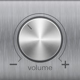 Volume sound control with metal chrome brushed texture. Volume button, sound control, music knob with metal aluminum or chrome brushed texture and line scale Stock Photo