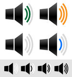 Volume, sound level indicators with speaker icons. Royalty Free Stock Images