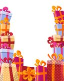 Volume style background flat illustration - mountain of gifts in bright boxes with ribbons and various textures frames from three vector illustration