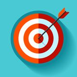 Volume Target icon in flat style on color background. Arrow in the center aim. Vector design element for you business projects vector illustration