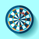 Volume Target icon in flat style on color background. Darts game. Arrow in the center aim. Vector design element for you business. Projects vector illustration