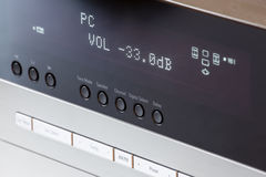 Volume tuning on av receiver. Volume tuning on hi-fi home audio video receiver Stock Photo