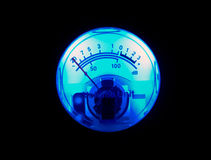 Volume unit. Blue vu meter isolated on black royalty free stock photography