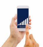 Volume up the smartphone. Hand man holding the smartphone and volume up with white background. All screen content is designed by us and not copyrighted by others stock images