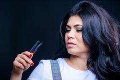 Volume van make-up het valse zwepen Zweepinstrument Professionele wimperuitbreiding tweezer Make-upkunstenaar Cosmetic tweezer stock afbeeldingen