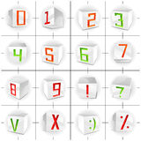 Volume vector cube font - figures and signs Stock Photography