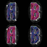 Volume vector letters A,B with shiny rhinestones Stock Images