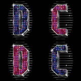 Volume vector letters C,D with shiny rhinestones Royalty Free Stock Image