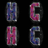 Volume vector letters G,H with shiny rhinestones stock illustration