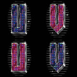 Volume vector letters U,V with shiny rhinestones Royalty Free Stock Images