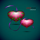 Volume vinous hearts with violet ribbon Stock Images
