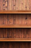Volume wooden shelf. Three volume wooden shelfs for products Royalty Free Stock Photo