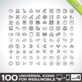 Volumen 4 mit 100 Universalentwurfs-Ikonen Stockbilder