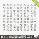 Volumen 3 mit 100 Universalentwurfs-Ikonen Stockfotografie