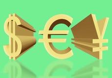 Volumendollarzeichen der USA-, Eurowährungs- und japanischenyen von lizenzfreie stockfotos