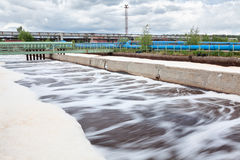 Volumes for oxygen aeration in wastewater treatment plant Stock Photography