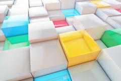 Volumetric abstract cubes background. Colorful 3D cubes business background vector illustration