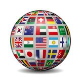 Volumetric ball with flags of different countries. Vector illustration. White bg Stock Photos