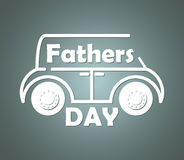 Volumetric contour silhouette of the car with inscribed congratulatory text on the fathers day. Royalty Free Stock Photo