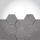 Volumetric 3D pyramid. hexagon. Optical illusion background. Black and white lines. vector