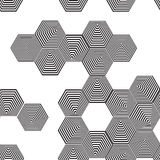 Volumetric 3D pyramid seamless pattern. hexagon. Optical illusio Stock Photo