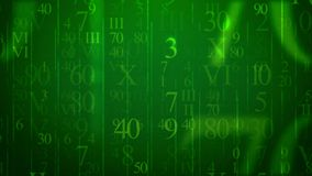 Numbers in Holographic Cyberspace. A volumetric 3d rendering of flying digits of Latin and Arabic origin placed in the green cyberspace. They are of different Stock Image