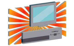 Volumetric 3d retro, hipster, antique, old, antique, personal computer against the background of orange rays. Vector illustration Vector Illustration