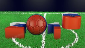 Volumetric figures and soccer ball. Volumetric figures of 2018 and a soccer ball in the colors of the flag of Russia. 3d rendering stock footage
