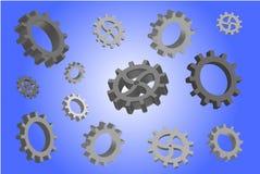 Volumetric gears on a blue gradient background. Volumetric gears of different sizes on a blue gradient background vector illustration
