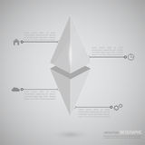 Volumetric hanging pyramid with pointers vector illustration
