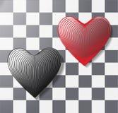 Volumetric heart symbol in 3d ` effect isolated on white background. design element for postcard, celebration, wedding. Convex, volumetric heart of 3 d lines stock illustration